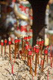 Chinese ritual candles after ceremony Royalty Free Stock Images
