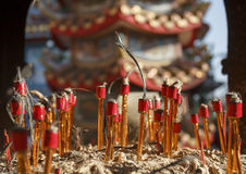 Chinese ritual candles after ceremony Royalty Free Stock Photography
