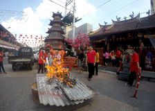 Chinese ritual ceremony. Chinese people perform a ritual to avert calamity in a temple in the city of Solo, Central Java, Indonesia Stock Photos