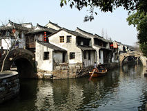 Chinese river. Traditional chinese buildings on a river in the town of Zhouzhuang, China Stock Images