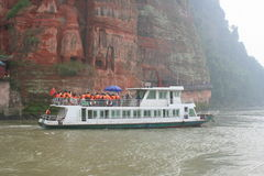 Chinese riverboat full of tourists Stock Photo