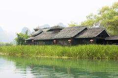 Chinese Riverside House Stock Image
