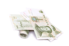 Chinese Rmb banknotes. On white background Stock Image
