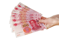 Chinese RMB bills, on white background Royalty Free Stock Image