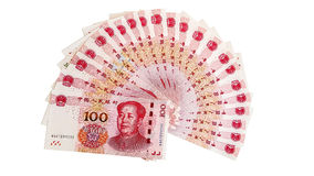 Chinese RMB bills, on white background Stock Photography