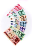 Chinese rmb notes. Different  chinese rmb notes face value Royalty Free Stock Photo