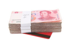 Chinese rmb and passbook. 30 thousand yuan and the passbook with white background Stock Photos
