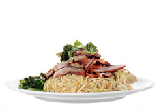 Chinese roast pork noodle dish Stock Photography