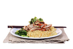 Chinese roast pork noodle dish Royalty Free Stock Photos