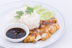 Chinese roasted pork served with soy sauce Stock Photography