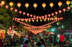Chinese rode lantaarn bij nacht Royalty-vrije Stock Afbeelding