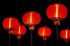 Chinese rode lantaarns bij nacht Stock Foto