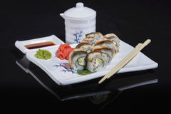 Chinese rolls with eel Royalty Free Stock Photography