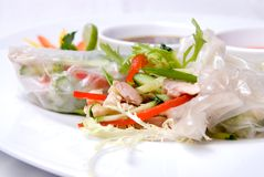 Chinese rolls with vegetables Royalty Free Stock Image