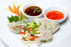 Chinese rolls with vegetables Royalty Free Stock Photo
