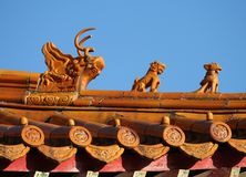 Chinese roof. Details of Chinese roof in Beijing Stock Photos