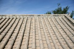 Chinese roof in ancient village Dunhuang, China Royalty Free Stock Images
