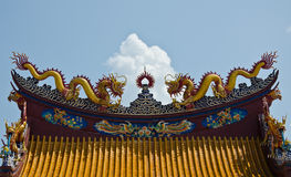 Chinese roof art in chinese temple Royalty Free Stock Photography