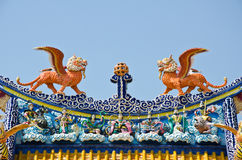 Chinese roof art in chinese temple. Chinese roof art design in temple Royalty Free Stock Photos