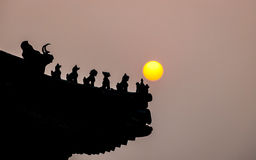Chinese roof detail at sunset Royalty Free Stock Image