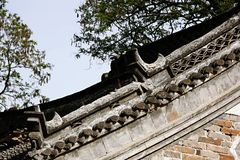 Chinese roof in New Milulou. An old Chinese roof in the Old Village of New Milulou royalty free stock photography