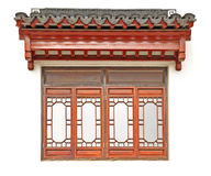 The Chinese roof and window on white wall Stock Photography