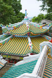 Chinese roof on worship Stock Photos