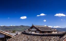 Chinese roofs. Lijiang city, Yunnan province in China Stock Photos