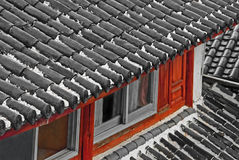 Chinese rooftop in rain Royalty Free Stock Images
