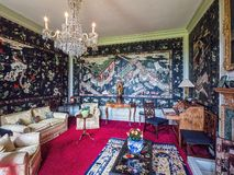 The walled garden, Burton Agnes Hall, Yorkshire, England. The Chinese room at Burton Agnes Hall that features 18th-century lacquered wall panels as well as royalty free stock photos