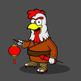 Chinese Rooster with Lanterns and Fireworks Royalty Free Stock Image