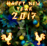 Chinese Rooster 2017 New Year's design background. Stock Photos
