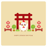 Chinese rooster year greeting card vector illustration