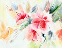 Chinese rose,  flower, bouquet, watercolor, pattern Royalty Free Stock Images