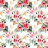 Chinese rose, flower, bouquet, watercolor, pattern seamless Royalty Free Stock Image