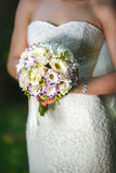 Chinese roses in hands of the bride Royalty Free Stock Photo