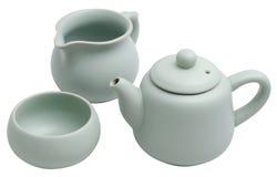 Chinese Ru tureen tea set. Closeup of replica chinese Ru tureen tea set (kung fu tea) isolated on white Stock Photos