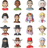 Chinese, russian, american, arab, indian, Turk and other races. The human race set collection icons in cartoon style Royalty Free Stock Image