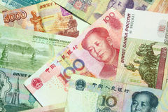 Chinese and Russian currency Royalty Free Stock Photos