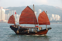 Chinese sailing ship. In Hong Kong Victoria Habour royalty free stock photography