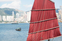 Chinese sailing ship in Hong Kong Victoria Habour Stock Photo