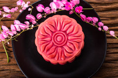 Chinese sakura moon cake Royalty Free Stock Image