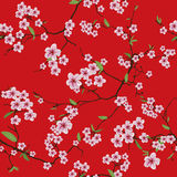Chinese sakura red kimono seamless vector pattern Stock Photography