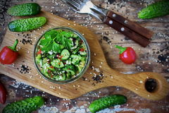 Chinese salad with broken cucumber, chilli and sesame Stock Image