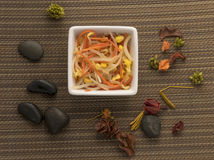 Chinese salad. Common components of Chinese salad marketed in the West Stock Photo