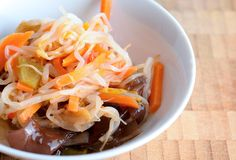 Chinese salad. With mungo beans and Jew's ear fungus in a bowl Stock Images