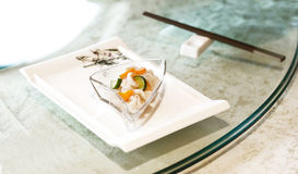 Chinese salad served with chop sticks Royalty Free Stock Photo