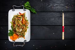 Chinese salad with soy cheese and vegetables royalty free stock photo