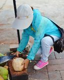 Chinese saleswoman clears coconut Stock Photos