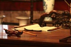 Chinese sanctum. Chinese old sanctum have book and brush pen Stock Photo